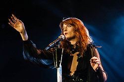 © Licensed to London News Pictures. 05/12/2012. London, UK.  Florence Welch of Florence and the Machine performing live at The O2 Arena. Florence and the Machine (stylised as Florence + the Machine) are an English indie rock band, consisting of lead singer Florence Welch, Isabella Summers, and a collaboration of other artists who provide backing music. Photo credit : Richard Isaac/LNP