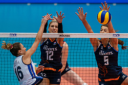04-08-2019 ITA: FIVB Tokyo Volleyball Qualification 2019 / Netherlands, - Italy Catania<br /> last match pool F in hall Pala Catania between Netherlands - Italy for the Olympic ticket. Italy win 3-0 and take the ticket to the Olympics / (L-R) Lucia Bosetti #16 of Italy, Britt Bongaerts #12 of Netherlands, Robin de Kruijf #5 of Netherlands