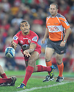Will Genia passes from the base of the Scrum for the Reds during the Super 15 Rugby (Quarter Final) fixture between the Queensland Reds and the South Africa Sharks played at Suncorp Stadium (Brisbane) on Saturday 21st July 2012 ~ Editorial Use only in accordance with QRU Terms & Conditions ~ Photo Credit Required : Steven Hight / photosport.co.nz