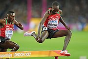 Jairus Kipchoge Birech jumps hurdle during  3000m steeple chase at the World Championships 080817 at the London Stadium, London, England on 8 August 2017. Photo by Myriam Cawston.