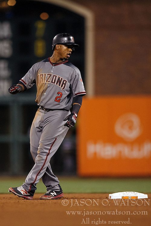 SAN FRANCISCO, CA - APRIL 18: Jean Segura #2 of the Arizona Diamondbacks stands next to second base during the seventh inning against the San Francisco Giants at AT&T Park on April 18, 2016 in San Francisco, California. The Arizona Diamondbacks defeated the San Francisco Giants 9-7 in 11 innings.  (Photo by Jason O. Watson/Getty Images) *** Local Caption *** Jean Segura