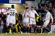 Western Sydney Wanderers celebrate their goal at the FFA Cup Round 16 soccer match between Bonnyrigg White Eagles FC v Western Sydney Wanderers FC at Marconi Stadium in Sydney.