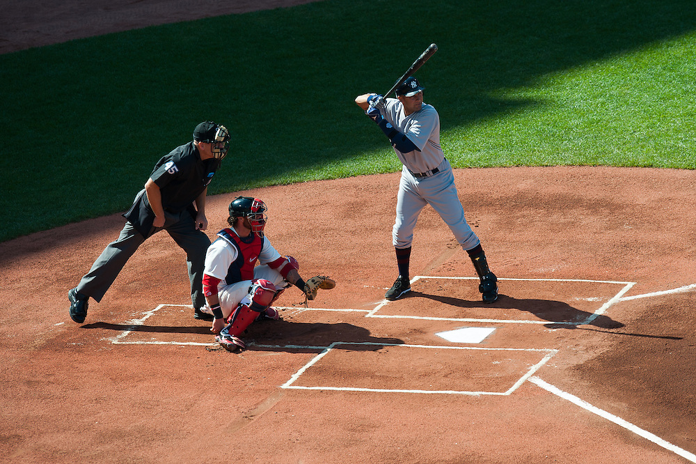 BOSTON, MA - APRIL 20: Derek Jeter #2 of the New York Yankees bats during the game against the Boston Red Sox on April 20, 2012 at Fenway Park in Boston, Massachusetts. Today marks the 100 year anniversary of the ball park's opening. (Photo by Rob Tringali) *** Local Caption *** Derek Jeter