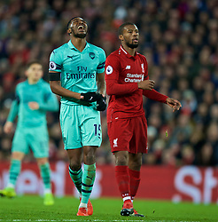 LIVERPOOL, ENGLAND - Saturday, December 29, 2018: Arsenal's Ainsley Maitland-Niles looks dejected after missing a chance during the FA Premier League match between Liverpool FC and Arsenal FC at Anfield. (Pic by David Rawcliffe/Propaganda)