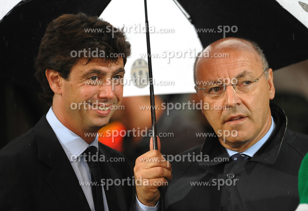 06.08.2010, Stadio Braglia, Modena, ITA, UEFA Europa League, Juventus Turin (ITA) vs Shamrock Rovers (IRL), im Bild Andrea AGNELLI President and Giuseppe MAROTTA, General Manager ( Juventus ).Modena 5/8/2010 Stadio Braglia.Europa League. EXPA Pictures © 2010, PhotoCredit: EXPA/ InsideFoto/ Andrea Staccioli +++++ ATTENTION - FOR AUSTRIA AND SLOVENIA CLIENT ONLY +++++ / SPORTIDA PHOTO AGENCY
