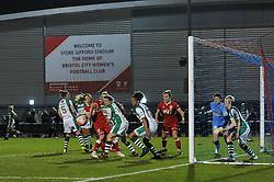 Corinne Yorston defender for Bristol City Women looks to head the ball  - Mandatory by-line: Dougie Allward/JMP - Mobile: 07966 386802 - 23/03/2016 - FOOTBALL - Stoke Gifford Stadium - Bristol, England - Bristol City Women v Yeovil Town Ladies - FA Women's Super League 2