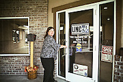 Melva Heinrich, who directs Twin Falls' LINC office, walks into work in Twin Falls, ID.