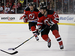 Feb 5, 2010; Newark, NJ, USA; New Jersey Devils left wing Ilya Kovalchuk (17) skates with the puck during the second period at the Prudential Center.
