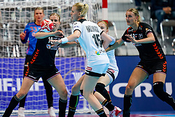 08-12-2019 JAP: Netherlands - Germany, Kumamoto<br /> First match Main Round Group1 at 24th IHF Women's Handball World Championship, Netherlands lost the first match against Germany with 23-25. / Danick Snelder #10 of Netherlands, Kim Naidzinavicius #15 of Germany, Mia Zschocke #18 of Germany