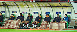 MOSCOW, RUSSIA - Thursday, November 8, 2012: Liverpool substitutes keep warm on the bench with tartan blankets during the UEFA Europa League Group A match against FC Anji Makhachkala at the Lokomotiv Stadium. (Pic by David Rawcliffe/Propaganda)