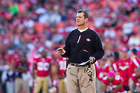 30 October 2011: Head coach Jim Harbaugh of the San Francisco 49ers coaches against the Cleveland Browns during the 49ers 20-10 victory against the Browns in an NFL football game at Candlestick Park in San Francisco, CA.