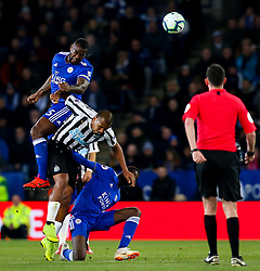 Wes Morgan of Leicester City beats Jose Salomon Rondon of Newcastle United to a header - Mandatory by-line: Robbie Stephenson/JMP - 12/04/2019 - FOOTBALL - King Power Stadium - Leicester, England - Leicester City v Newcastle United - Premier League