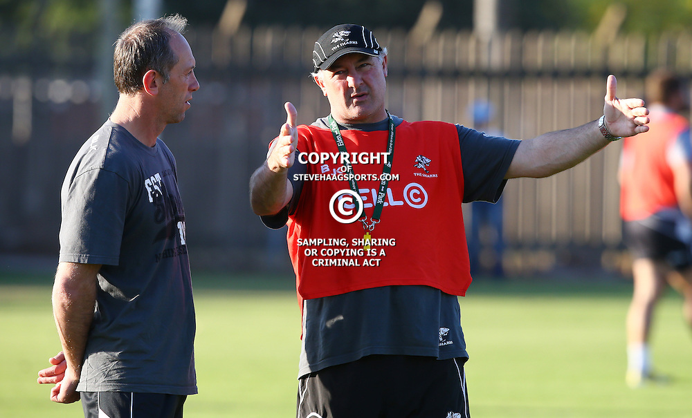 Durban ,Tuesday 9th June 2015, Brendan Venter with Gary Gold (Sharks Director of Rugby) during the The Cell C Sharks Training  at Growthpoint Kings Park Stadium on Tuesday 9th June  2015. (Photo by Steve Haag)