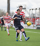 Dundee&rsquo;s Kane Hemmings and Hamilton&rsquo;s Mikey Devlin - Hamilton v Dundee, Ladbrokes Scottish Premiership at New Douglas Park<br />  <br />  - &copy; David Young - www.davidyoungphoto.co.uk - email: davidyoungphoto@gmail.com