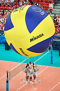 Poland, Warsaw - 2017 August 24: Big Mikasa ball while opening ceremony during LOTTO EUROVOLLEY POLAND 2017 - European Championships in volleyball  at Stadion PGE Narodowy on August 24, 2017 in Warsaw, Poland.<br /> <br /> Mandatory credit:<br /> Photo by © Adam Nurkiewicz<br /> <br /> Adam Nurkiewicz declares that he has no rights to the image of people at the photographs of his authorship.<br /> <br /> Picture also available in RAW (NEF) or TIFF format on special request.<br /> <br /> Any editorial, commercial or promotional use requires written permission from the author of image.