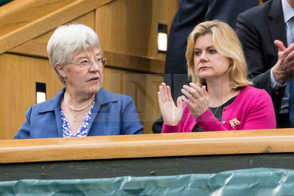 © Licensed to London News Pictures. 01/07/2016.   MRS JULIA GREENING and JUSTINE GREENING MP watch tennis from the Royal Box on centre court on the fifth day of the WIMBLEDON Lawn Tennis Championships. London, UK. Photo credit: Ray Tang/LNP