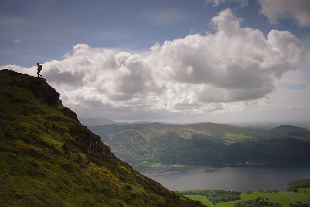 Walker (Alan Hinks) on Ullock Pike, Bassenthwaite, Lake District, Cumbria, Uk
