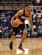 Oct. 12, 2012; Phoenix, AZ, USA; Portland Trail Blazers forward Nicolas Batum (88) handles the ball against the Phoenix Suns at US Airways Center. The Suns defeated the Trail Blazers 104-93.  Mandatory Credit: Jennifer Stewart-US PRESSWIRE