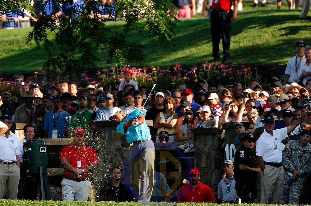 06 July 2007:  Tiger Woods tees off on the 10th hole in the second round of the inaugural AT&T National PGA event at Congressional Country Club in Bethesda, Md.  ****For Editorial Use Only