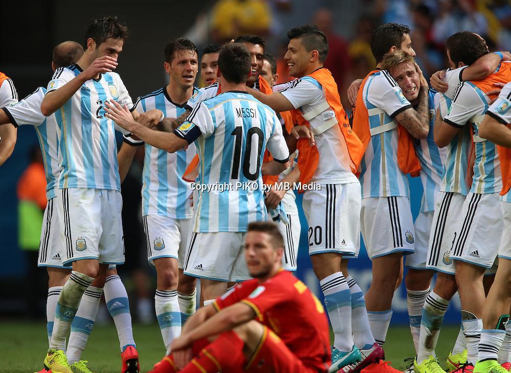 Fifa Soccer World Cup - Brazil 2014 - <br /> ARGENTINA (ARG) Vs. BELGIUM (BEL) - Quarter-finals - Estadio Nacional Brasilia -- Brazil (BRA) - 05 July 2014 <br /> Here Argentine players celebrating after finish the match<br /> &copy; PikoPress