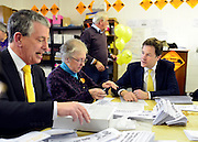 © Licensed to London News Pictures. 27/02/2013. Eastleigh, UK Leader of the Liberal Democrats and Deputy Prime minister Nick Clegg (right) and Liberal Democrat Parliamentary Candidate for Eastleigh, Mike Thornton help pack campaign leaflets at the Liberal Democrat campaign headquarters. Campaigning in the weeks ahead of The Liberal Democrats winning the Eastleigh by-election, with the UK Independence Party pushing the Conservatives into third place.. Photo credit : Stephen Simpson/LNP