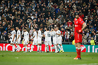 Real Madrid´s players celebrate a goal next to Malmo´s goalkeeper Wiland during 2015/16 Champions League soccer match between Real Madrid and Malmo at Santiago Bernabeu stadium in Madrid, Spain. December 08, 2014. (ALTERPHOTOS/Victor Blanco)