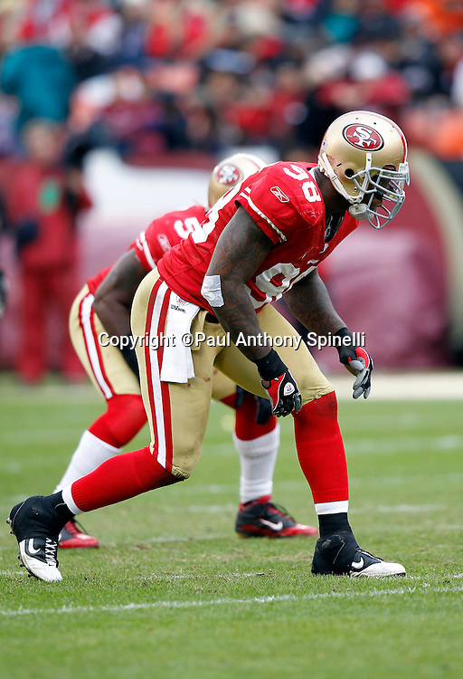 San Francisco 49ers linebacker Parys Haralson (98) gets set for the snap during the NFL week 17 football game against the Arizona Cardinals on Sunday, January 2, 2011 in San Francisco, California. The 49ers won the game 38-7. (©Paul Anthony Spinelli)