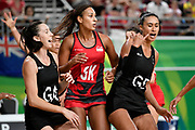 11th April 2018, Gold Coast Convention and Exhibition Centre, Gold Coast, Australia; Commonwealth Games day 7; Netball, England versus New Zealand; Maria Folau of New Zealand looks frustrated as Geva Mentor of England marks her closely