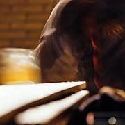 Chris Vargo catching a beer.