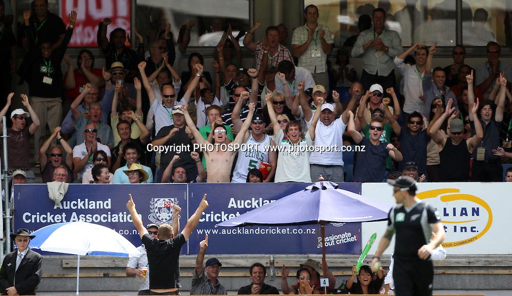 The crowd go wild.<br />2nd one day international. New Zealand Black Caps versus Australia one day Chappell Hadlee cricket series. Eden Park, Auckland, New Zealand. Saturday 6 March 2010. Photo: Andrew Cornaga/PHOTOSPORT