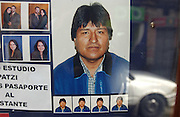 La Paz, Bolivia.<br />Passport photo shop has passport photo of Evo Morales, the leader of the socialist MAS party and the former coca grower's union leader who is Bolivia's president. His election has underlined a trend towards leftwing leaders in Latin America.