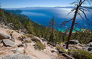 Mountain bike riding on the famous Lake Tahoe Flume Trail on the east shore of Lake Tahoe. Photo Scott Sady/TahoeLight.com