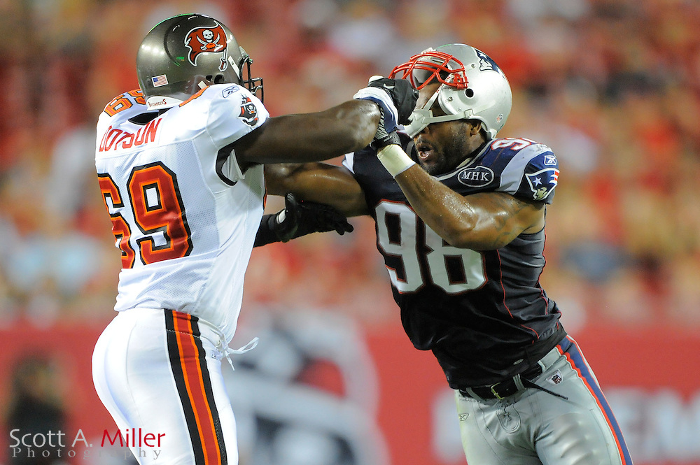 New England Patriots defensive end Eric Moore (98) during the Pats game against the Tampa Bay Buccaneers at Raymond James Stadium on Aug. 18, 2011 in Tampa, Fla...©2011 Scott A. Miller.
