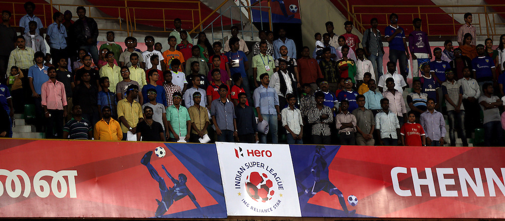 Crowd during the national anthem of the match 50 of the Hero Indian Super League between Chennaiyin FC and FC Goa held at the Jawaharlal Nehru Stadium, Chennai, India on the 5th December 2014.<br /> <br /> Photo by:  Sandeep Shetty/ ISL/ SPORTZPICS