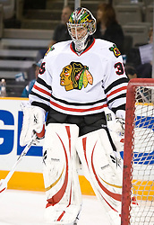 January 28, 2010; San Jose, CA, USA; Chicago Blackhawks goalie Cristobal Huet (39) before the game against the San Jose Sharks at HP Pavilion. Chicago defeated San Jose 4-3 in overtime. Mandatory Credit: Jason O. Watson / US PRESSWIRE