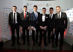LIVERPOOL, ENGLAND - Tuesday, May 19, 2015: Liverpool youth team players Jordan Rossiter, Alex O'Hanlon, Joe Maguire, Ryan Kent, Cameron Brannagan and Ryan McLaughlin arrive on the red carpet for the Liverpool FC Players' Awards Dinner 2015 at the Liverpool Arena. (Pic by David Rawcliffe/Propaganda)