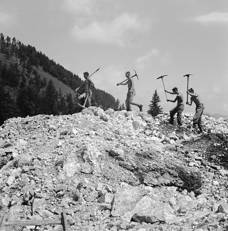 Members of 'Reichsarbeitsdienst' Working on the 'Deutsche Alpenstrasse' from Lake Constance to Königsee, near Berchtesgaden, Bavaria, c. 1938