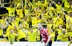 Sales grascaki, Fans of Gorenje during handball match between RK Gorenje Velenje (SLO) and Pfadi Winterthur (SUI) in Group Phase of EHF European Cup 2014/15, on March 8, 2015 in Rdeca dvorana, Velenje, Slovenia. Photo by Vid Ponikvar / Sportida