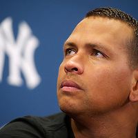 New York Yankees Third Baseman Alex Rodriguez addresses the media after playing a minor league game for the AA Trenton Thunder in Trenton, NJ on August 3, 2013.  He is facing a suspension by Major League Baseball for his alleged use of steroids with the Biogenesis clinic in Florida.