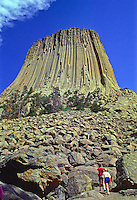 Visitors can hike around the tower by taking the tower Trail which begins near the visitor center.  Devils tower National Monument, Wyoming.