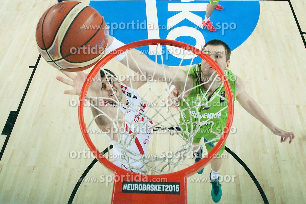 Giorgi Shermadini of Georgia vs Uros Slokar of Slovenia during basketball match between Slovenia and Georgia at Day 2 in Group C of FIBA Europe Eurobasket 2015, on September 6, 2015, in Arena Zagreb, Croatia. Photo by Vid Ponikvar / Sportida