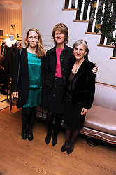 Left to right, CAMILLE GOUTAL, BRIGITTE TAITTINGER CEO of Annick Goutal and ISABELLE DOYEN at the opening of the Annick Goutal store, Mount Street, London on 2nd December 2008.