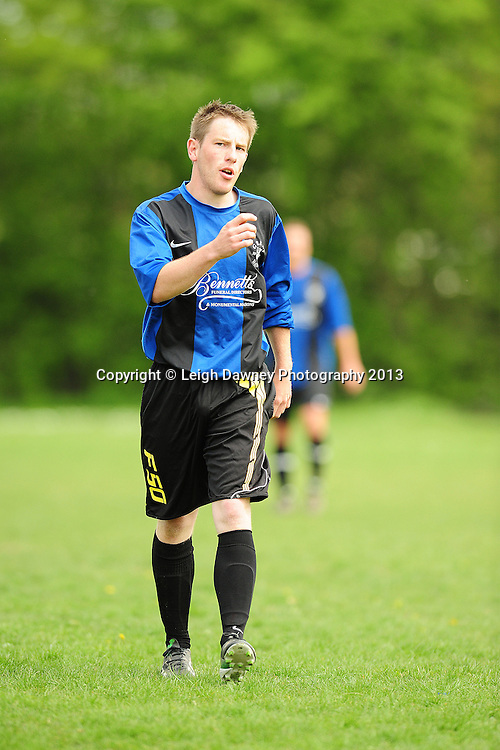Great Danes FC (blue/black shirts) v Harold Hill FC, Brentwood Sunday League football, The Drive, Warley, Brentwood, 05.05.13. Credit © Leigh Dawney Photography 2013.