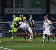 Ross County&rsquo;s Scott Fox and Andrew Davies combine to deny Dundee&rsquo;s James McPake - Ross County v Dundee, Ladbrokes Premiership at Victoria Park<br /> <br />  - &copy; David Young - www.davidyoungphoto.co.uk - email: davidyoungphoto@gmail.com