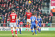 Bristol City's Marlon Pack heads clear during the Sky Bet Championship match between Bristol City and Ipswich Town at Ashton Gate, Bristol, England on 13 February 2016. Photo by Shane Healey.