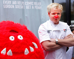 © under license to London News Pictures. 04/02/11 Gordon Ramsey and Shobna-Gulati help promote Red Nose Day in Brick Lane. Seriously Good Indian sauces will sell curry at a stall today to raise money for red nose day 2011. Photo credit should read: Olivia Harris/ London News Pictures