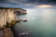 A moody representation of the cliff known as La Courtine, which is part of the amazing rocky coast around Etretat in Upper Normandy, France, altogether known as Les Failases d?Etretat..