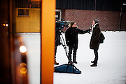 """Kirkenes, Norge, 08.02.2012. Den 1. februar 2012 lastet kunstner Morten Traavik opp en videosnutt på You Tube av Nord-Koreanske ungdommer som spiller A-Ha hiten """"Take on Me"""" på trekkspill. En uke etter ha over en million mennesker sett videoen. En delegasjon Nord-Koreanere er i Kirkenes i forbindelse med festivalen """"Barents Spetakel"""". Foto: Christopher Olssøn"""