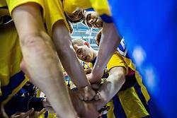 Miha Zarabec of Celje PL and other players of Celje Pivovarna Lasko celebrate after winning during handball match between RK Celje Pivovarna Lasko (SLO) and Rhein-Neckar Loewen (GER) in Round 6 of EHF Champions League 2014/15, on November 23, 2014 in Arena Zlatorog, Celje, Slovenia. Photo by Vid Ponikvar / Sportida