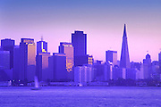 Image of the San Francisco skyline at dusk from Treasure Island, San Francisco, California